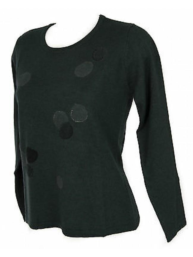 Maglia girocollo bolle donna sweater RISMEL art. G37-32 taglia M col. VERDE BOT