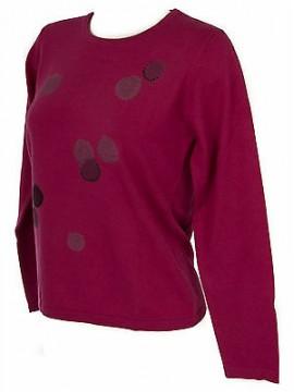 Maglia girocollo bolle donna sweater RISMEL art. G37-32 taglia XL col. FUXIA
