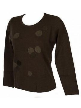 Maglia girocollo bolle donna sweater RISMEL art. G37-32 taglia XXL col. MARRONE
