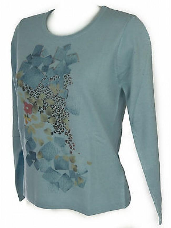 Maglia girocollo donna sweater RISMEL art. G37-62 taglia L colore CELESTE