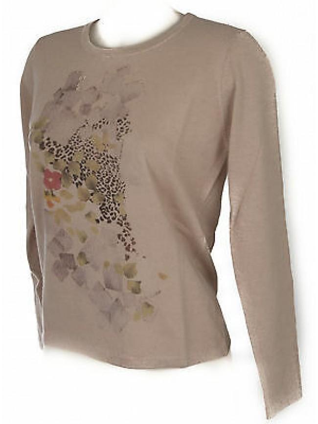Maglia girocollo donna sweater RISMEL art. G37-62 taglia L colore CIPRIA