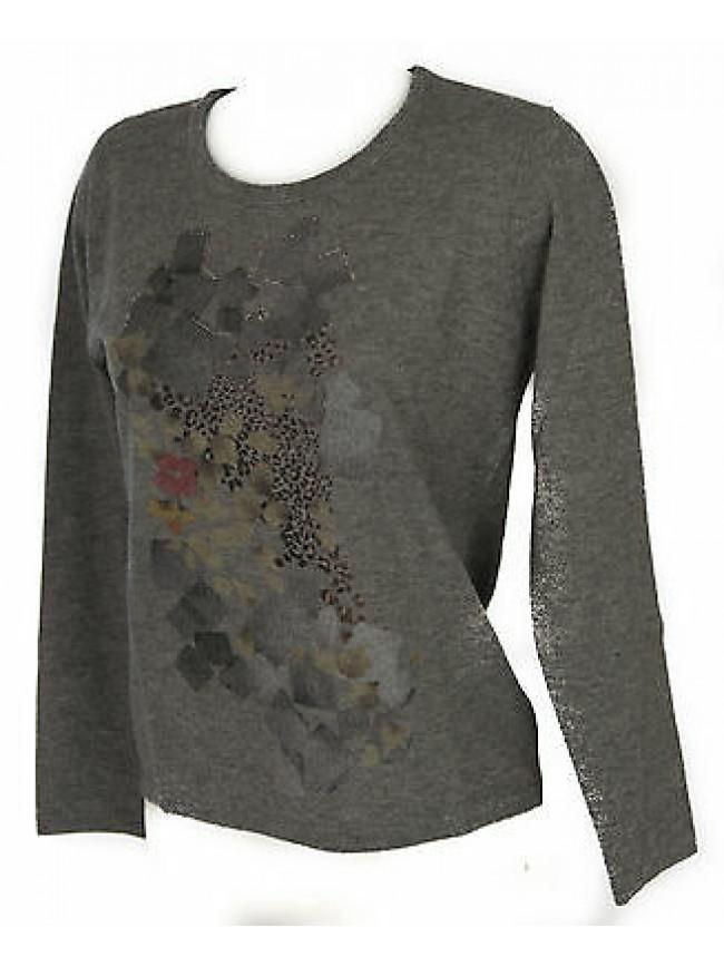 Maglia girocollo donna sweater RISMEL art. G37-62 taglia L colore GRIGIO GREY