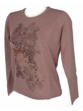 Maglia girocollo donna sweater RISMEL art. G37-62 taglia L colore ROSA PINK