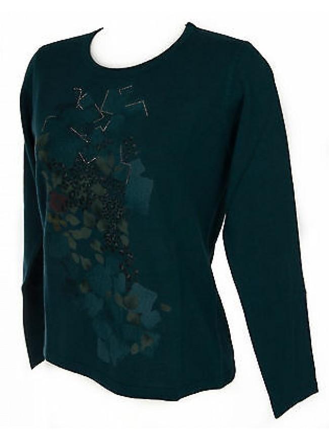 Maglia girocollo donna sweater RISMEL art. G37-62 taglia M colore PAVONE