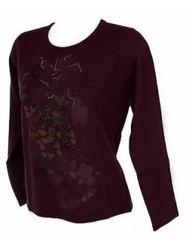 Maglia girocollo donna sweater RISMEL art. G37-62 taglia M colore PRUGNA