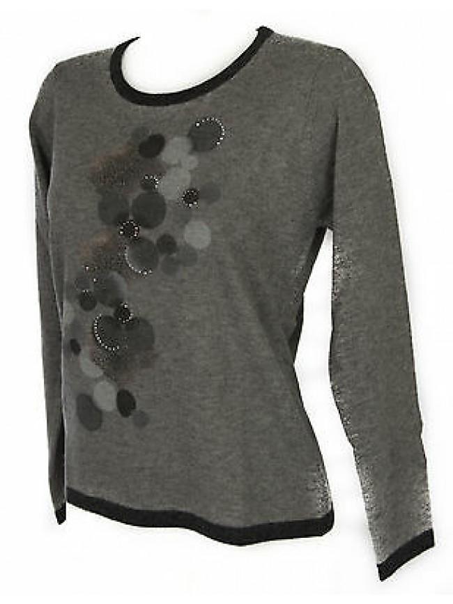 Maglia girocollo donna sweater RISMEL art. G37B-6 taglia L colore GRIGIO GREY