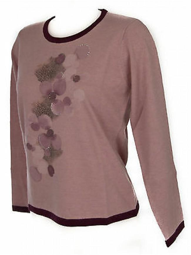 Maglia girocollo donna sweater RISMEL art. G37B-6 taglia L colore ROSA PINK
