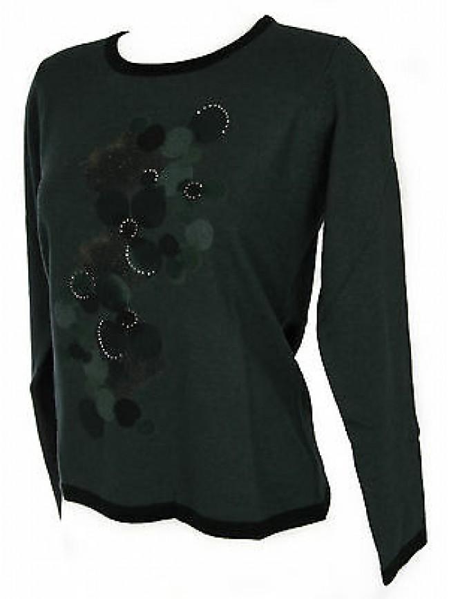 Maglia girocollo donna sweater RISMEL art. G37B-6 taglia L colore VERDE GREEN