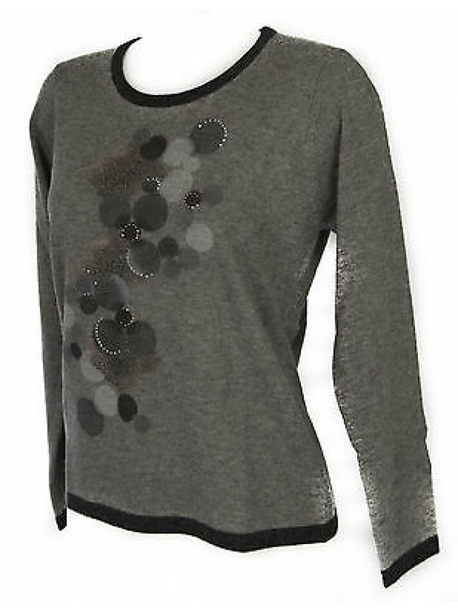 Maglia girocollo donna sweater RISMEL art. G37B-6 taglia M colore GRIGIO GREY