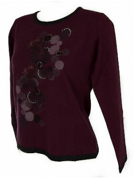 Maglia girocollo donna sweater RISMEL art. G37B-6 taglia M colore PRUGNA