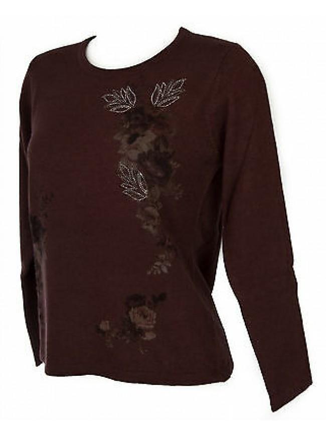 Maglia girocollo fiori donna sweater RISMEL art. G37-47 taglia L col. CIPOLLA