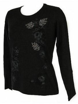 Maglia girocollo fiori donna sweater RISMEL art. G37-47 taglia L col. GRIGIO