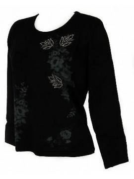 Maglia girocollo fiori donna sweater RISMEL art. G37-47 taglia L col. NERO