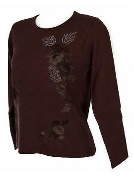 Maglia girocollo fiori donna sweater RISMEL art. G37-47 taglia M col. CIPOLLA