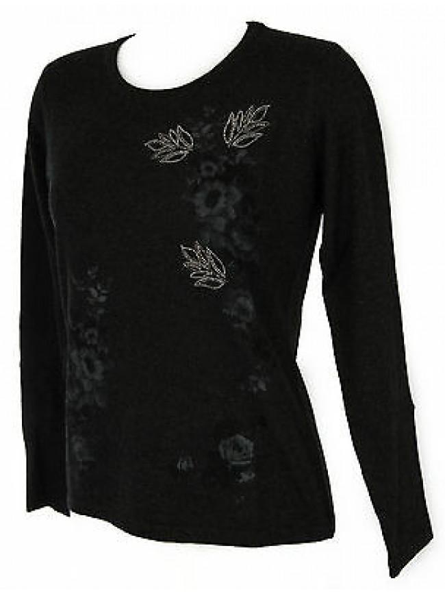 Maglia girocollo fiori donna sweater RISMEL art. G37-47 taglia XL col. GRIGIO