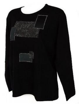 Maglia girocollo quadri donna sweater RISMEL art. AN34-11 taglia L col. NERO