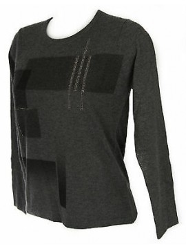 Maglia girocollo quadri donna sweater RISMEL art. G37-41 taglia L col. GRIGIO