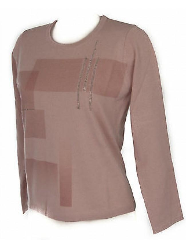 Maglia girocollo quadri donna sweater RISMEL art. G37-41 taglia XL col. ROSA
