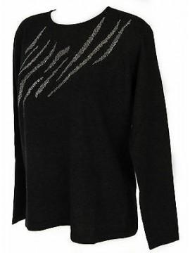 Maglia girocollo strass donna sweater RISMEL art. AN34-12 taglia M col. GRIGIO