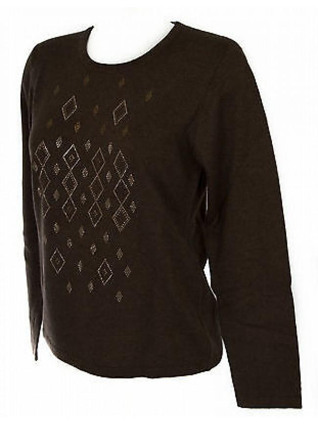 Maglia girocollo strass donna sweater RISMEL art. G37-40 taglia L col. MARRONE