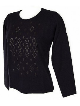 Maglia girocollo strass donna sweater RISMEL art. G37-40 taglia L col. VIOLA