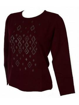 Maglia girocollo strass donna sweater RISMEL art. G37-40 taglia M col. BORDEAUX