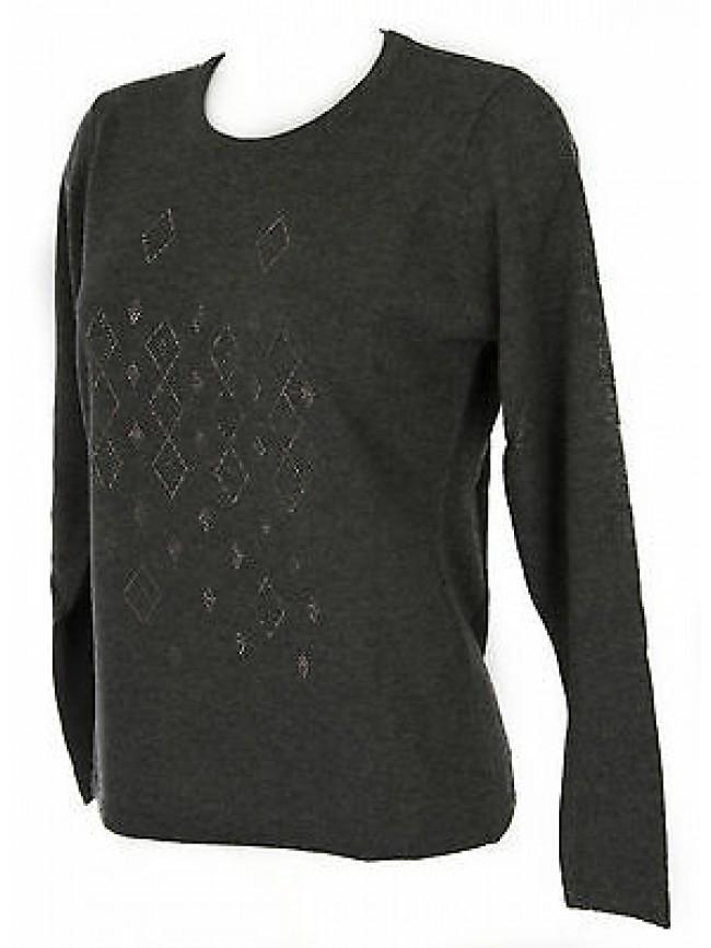 Maglia girocollo strass donna sweater RISMEL art. G37-40 taglia M col. GRIGIO