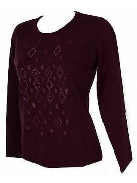 Maglia girocollo strass donna sweater RISMEL art. G37-40 taglia M col. PRUGNA