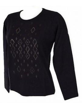 Maglia girocollo strass donna sweater RISMEL art. G37-40 taglia M col. VIOLA