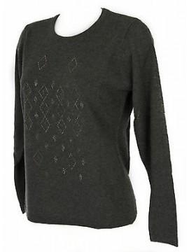 Maglia girocollo strass donna sweater RISMEL art. G37-40 taglia XL col. GRIGIO