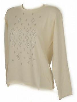 Maglia girocollo strass donna sweater RISMEL art. G37-40 taglia XXL col. AVORIO