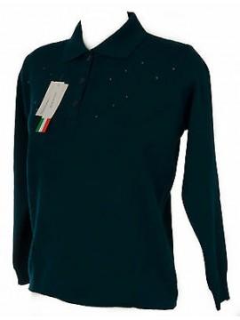 Maglia polo bottoni strass donna sweater BIESSE art. 15123 taglia XL col. PAVONE