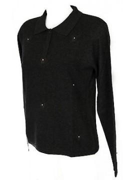 Maglia polo bottoni strass donna sweater RISMEL art. G34-5 taglia L col. GRIGIO