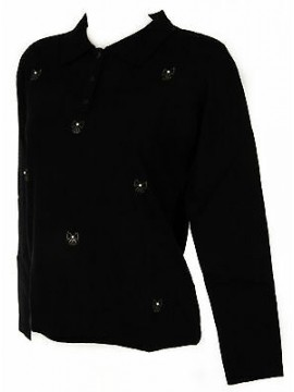 Maglia polo bottoni strass donna sweater RISMEL art. G34-5 taglia L col. NERO