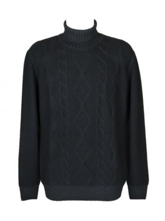 Maglia pullover maglione uomo manica lunga collo ciclista pura lana merino extra