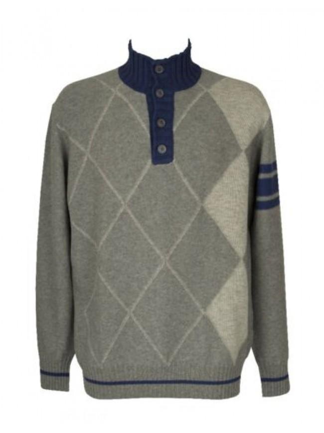Maglia pullover maglione uomo manica lunga serafino pura lana merino extrafine F