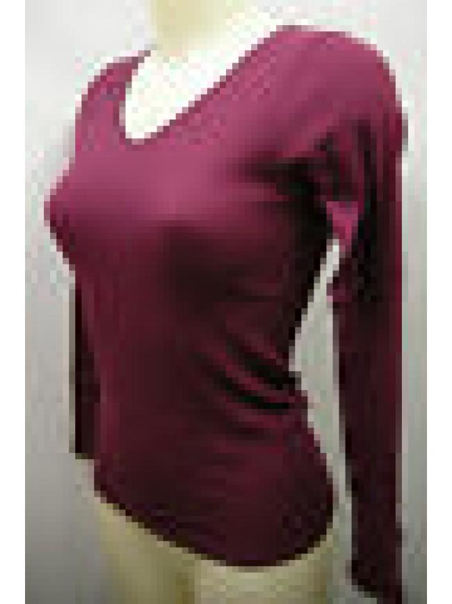 Maglia scollo V donna cotone sweater woman RAGNO 078919 T.3/S col.183K prugna