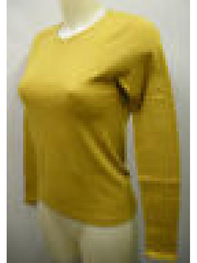 Maglia scollo V t-shirt donna woman RAGNO a.07452A T.2/XS c.041 senape