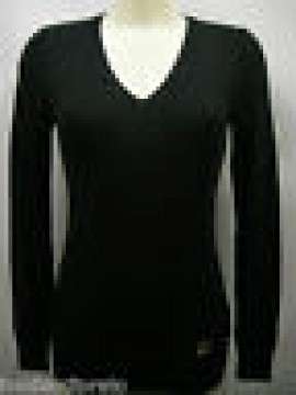 Maglia scollo v donna sweater woman GF FERRE 5F845 T.L c.900 nero black Italy