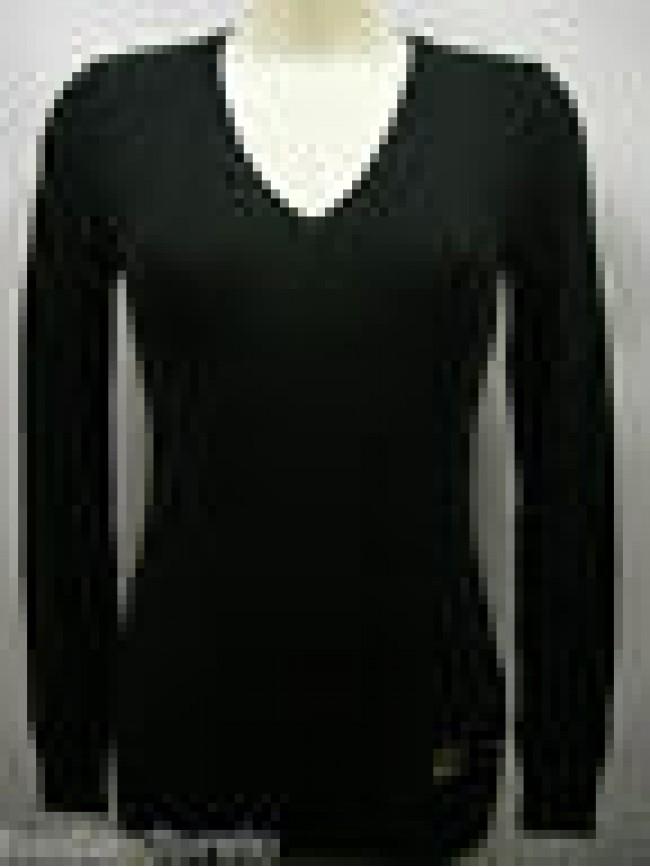 Maglia scollo v donna sweater woman GF FERRE 5F845 T.L c.900 nero black Italy