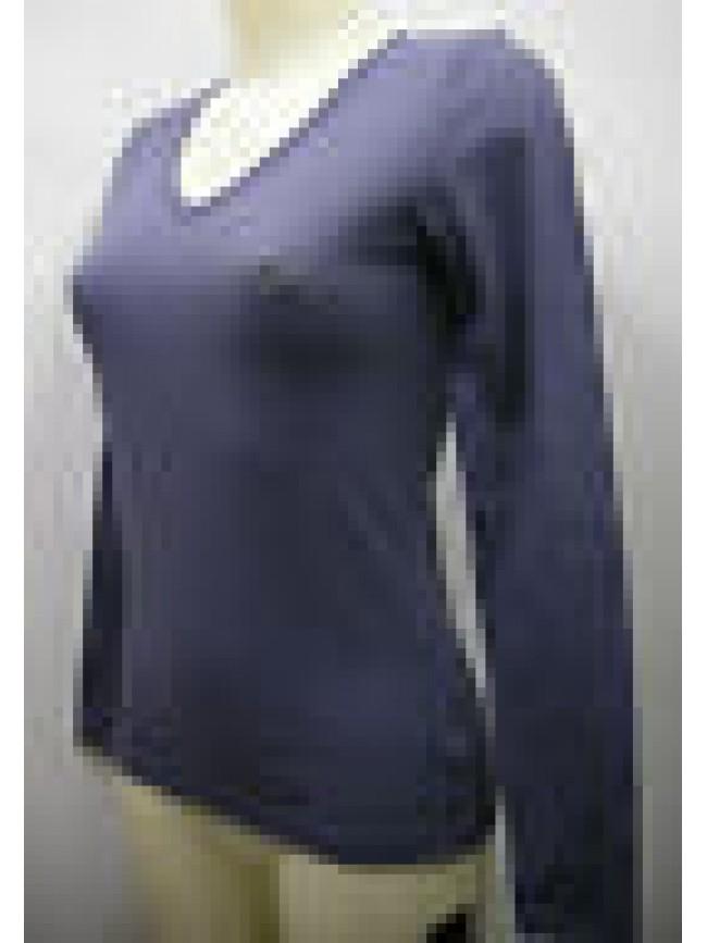 Maglia t-shirt scollo V donna EMPORIO ARMANI 162432 2A270 T.XS 06334 blu nordico