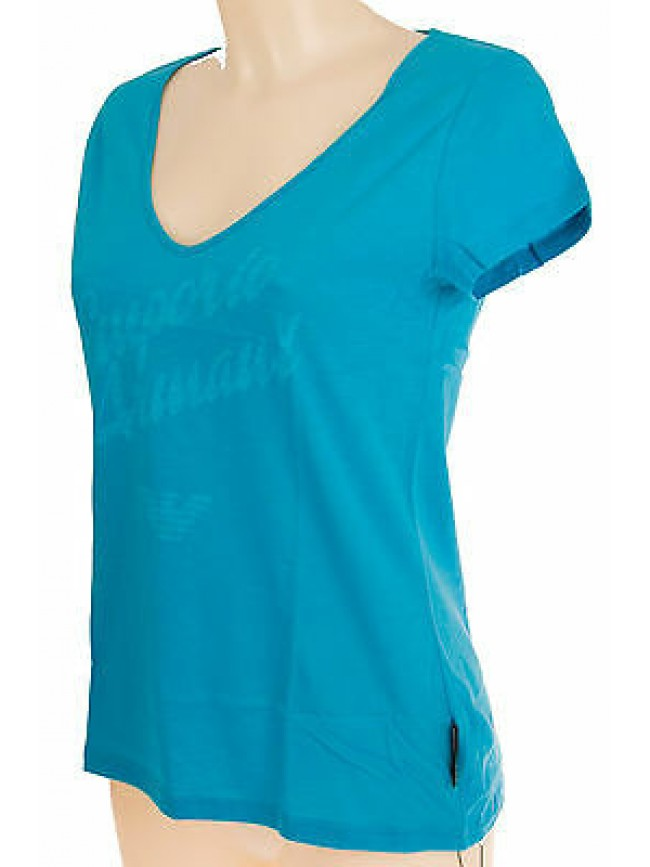 Maglia t-shirt scollo V donna EMPORIO ARMANI 262231 4P366 T.XS a.00032 TURQAQUA