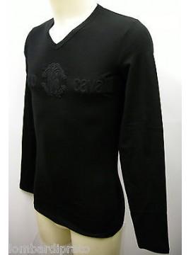 Maglia t-shirt uomo man ROBERTO CAVALLI a.2711 T52 T.44 / XS col.2000 nero black