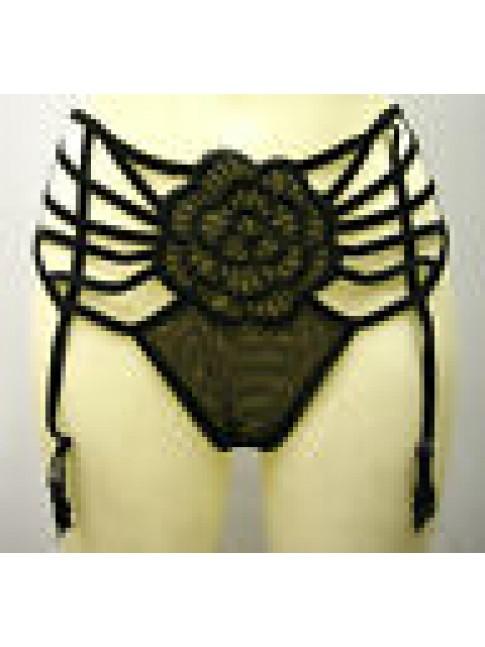 PERIZOMA SLIP REGGICALZE THONG SUSPENDERS PARAH H884 T.4 0148 NERO BLACK SEXY