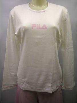 PIGIAMA DONNA PAJAMAS PIJAMA FILA A.28028 T.5/XL C.003 BIANCO WHITE ROSA PINK