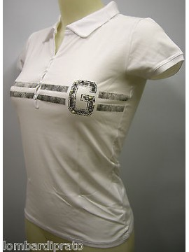 POLO T-SHIRT MAGLIETTA DONNA WOMAN GUESS UC3O2E JER29 T.XXL C.U001 BIANCO WHITE