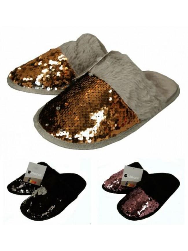 Pantofola casa donna pelo antiscivolo paillettes che cambiano colore homewear CI