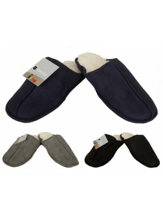 Pantofola casa uomo pelo suola antiscivolo homewear CIOCCA articolo 511/U CIABAT