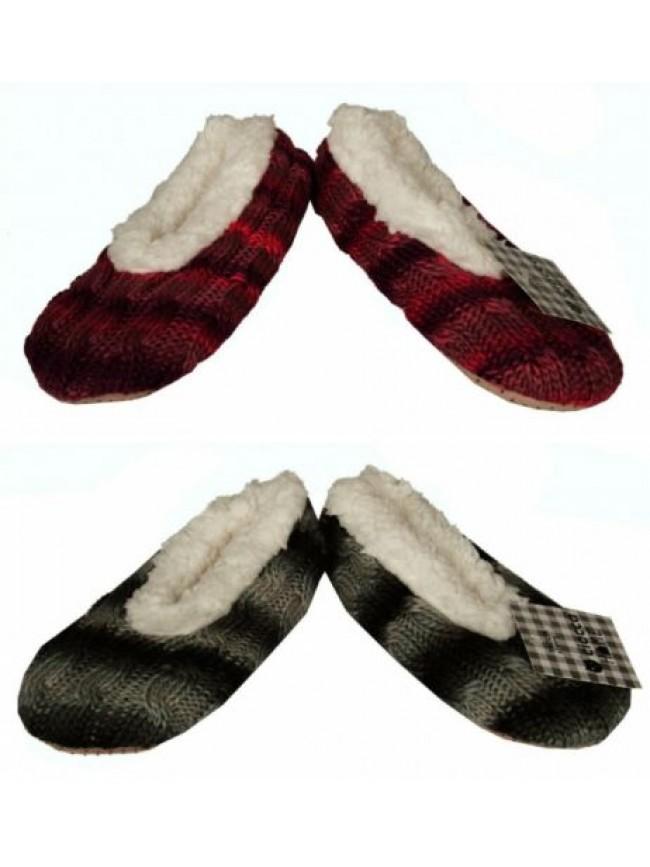 Pantofola ciabatta babbuccia casa donna pelo antiscivolo effetto maglia homewear
