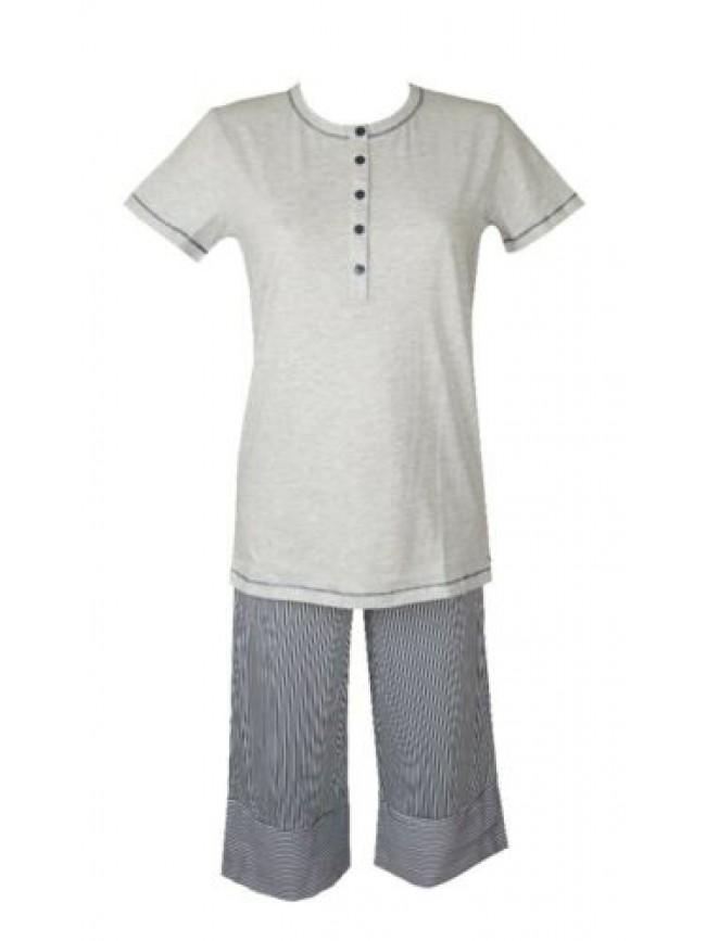 Pigiama donna cotone manica corta pantalone pinochietto collo serafino RAGNO art